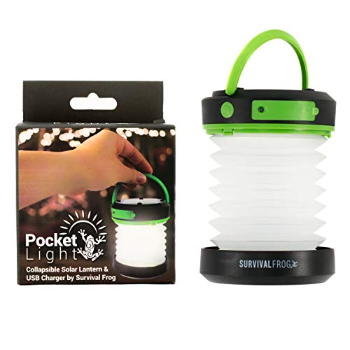 - Survival Frog Pocket Light LED Solar Camping Lantern & Collapsible Flashlight with USB Emergency Power Bank Charger Great for Tent Camping, Hiking, Home & Auto