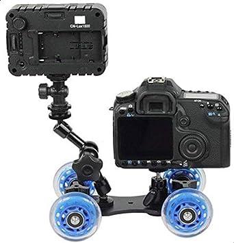 قاعدة كاميرا شاشةة DSLR 3 في 1 بتصميم سيارة بريميوم بمكتب صغير وعجلات سكة لتصوير الفيديو مع اذرع ماجيك لحمل الكاميرات 11 انش و7 انش