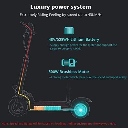 HOMMINI KUGOO M4 Trottinette Electrique avec Siège, Pliable et Réglable en Hauteur pour Ados et Mixte Adulte, Scooter Electrique Autonomie de 45km, Moteur de 500 W, Vitesse Maximale de 43 km/h