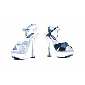 C Vanity Ellie Shoes, 6 inch Silver Cone high heels Mule