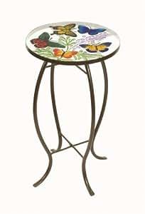 Mariposas mesa auxiliar redonda de cristal jard n for Mesa jardin cristal amazon