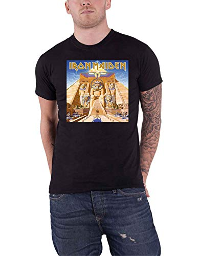 Iron Maiden T Shirt Powerslave Album Cover Box Band Logo Official Mens Black Size L
