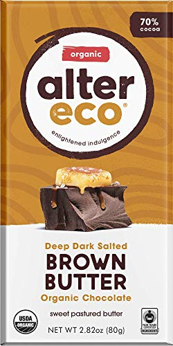 - Alter Eco | Dark Salted Brown Butter | 70% Pure Dark Cocoa, Fair Trade, Organic, Non-GMO, Gluten Free Dark Chocolate Bar, Single Bar (2.82 oz)