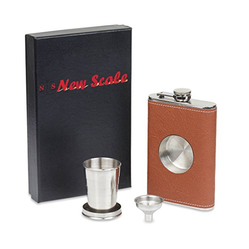 New-Scale-8oz-Brown-PU-Leather-flask-with-Telescopic-Cup-Insert-in-Black-Gift-Box-Set-Premium-with-Funnel-and-2-Cups-Stainless-Steel-and-100-Leak-Proof-for-Discrete-Liquor-Shot-Drinking