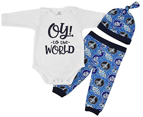 Unique Baby Boys Oy! to The World Hanukkah Layette Outfit Cap (6 Months) Blue ()