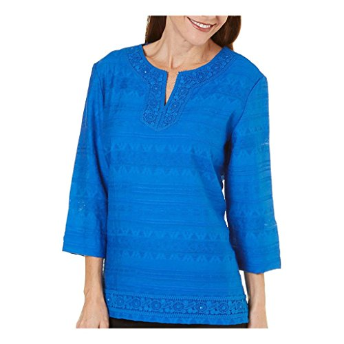 Alfred Dunner Women's Plus Size Lace Trim Tunic, 3/4 Slv, Cobalt, (Alfred Dunner Tunic)