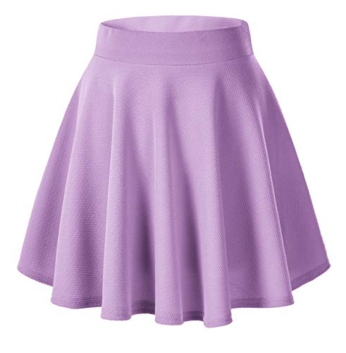 Women's Basic Versatile Stretchy Flared Casual Mini Skater Skirt (XL, Lilac) (Lilac Tutu)
