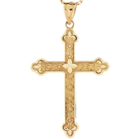 14ct Or Pendentif Croix Religieuse Chrétienne Catholique Taille Diamant