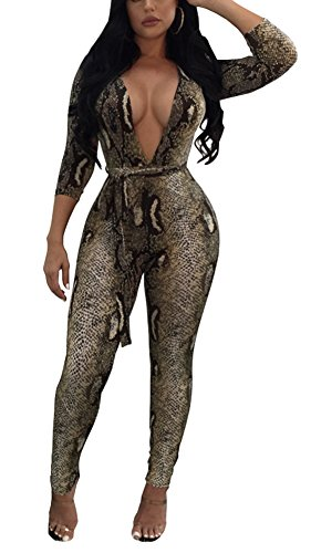 Dreamparis Women's Sexy Floral Deep V Neck Long Sleeve Bodycon Long Pants Jumpsuits Rompers,Snake Print,X-Large ()