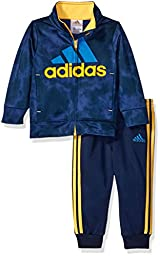 adidas Baby Boys\' Tricot Jacket and Pant Set, Navy/Yellow, 24 Months
