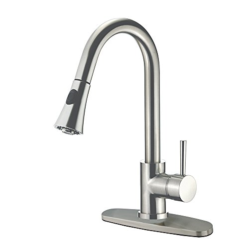 Kingston Brass Gourmetier GS8728DL Concord Single Handle Lead Free Kitchen Faucet with Pull Down Spout, Satin - Free Concord Store