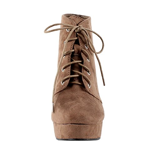 Forever Camille-86 Frauen Komfort Stapeln Chunky Heel Lace Up Ankle Booties Taupe
