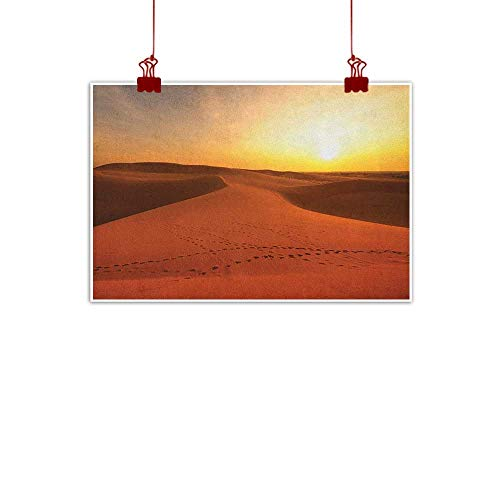 "Anyangeight Fabric Cloth Rolled Desert,Footprints on Sand Dunes at Sunrise Hot Dubai Landscape Travel Destination, Dark Orange Yellow 24""x20"" Home Decorations Modern Stretched and Artwork"
