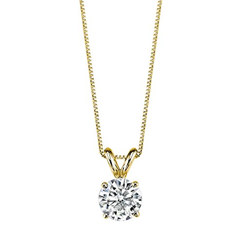 14K Yellow Gold Moissanite by Charles & Colvard Round Solitaire Pendant, 1.00ct DEW