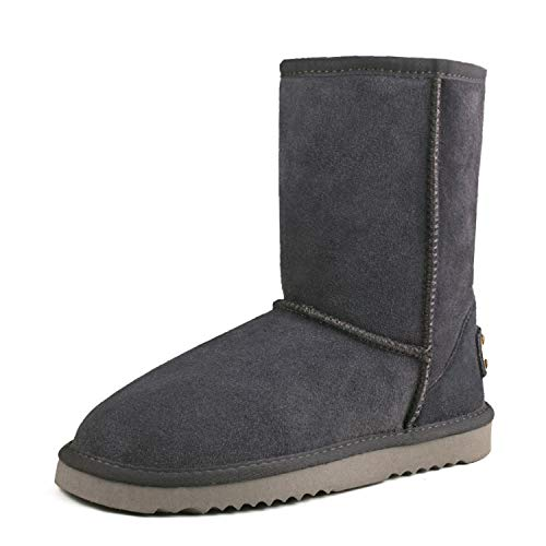 Boot Snow Women's Half Boot Winter Leather AUSLAND Grey Classic wx6PqRwS