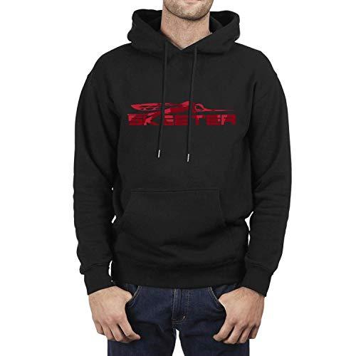 Casual Sweaters Men's Long Sleeve Funny Skeeter red Logo Wool Warm Outdoor Pullover Hooded Sweatshirt (Skeeter Sweatshirt)