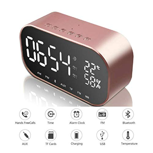 (GuDoQi Digital Alarm Clock Radio with Wireless Bluetooth Speaker USB Charging Port AUX TF Card Play FM Radio Dual Alarm Temperature LED Display for Bedside Bedroom Desktop Home Office (Rose Gold))