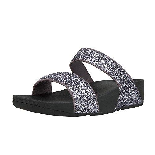 Pewter Glitter Footwear - FitFlop Women's Glitterball Slide Sandals Pewter 6