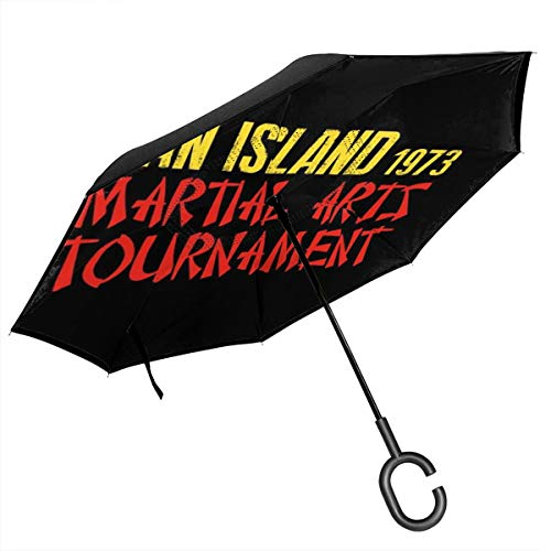 Enter The Dragon Ham Island Martial Arts Tournament Double Layer Inverted Umbrella For Car Reverse Folding Upside Down C-Shaped Hands - Lightweight & Windproof - Ideal Gift