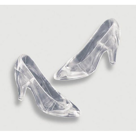 Plastic Cinderella Slipper (8 Count) - Clear - Cinderella Cake Decorations