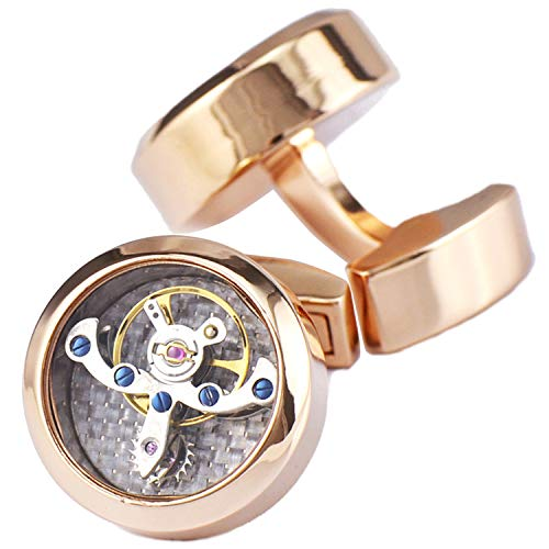 - Pavaruni Original Cufflinks 50+Color Steam Punk Watch Movement Automatic Mechanical Vintage Novelty (Rotate1-Rose Gold(Glass))