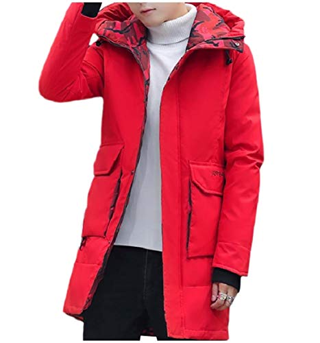 Coat Red Style Brumal Warm RkBaoye Men Hooded Zip Full Down Basic Thickened UqxPvS6