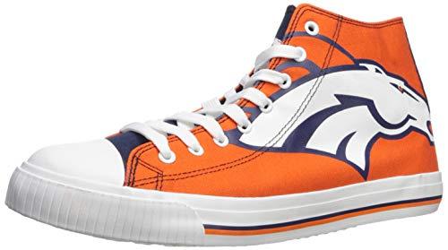 Broncos Canvas - FOCO NFL Denver Broncos Men's High Top Big Logo Canvas Footwear, Team Color, Xx-Large