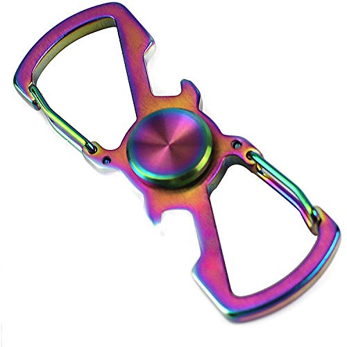 5 in 1 Keychain Carabiner Finger Spinner Toy, Stainless Steeel Bottle Opener, Fishing Rope Buckle,Multifunction Clips with Stress Relief Spinner (Colorful)