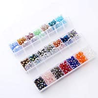 Crystals Wholesale Briolette Crystal Glass Beads Finding Spacer Beads Faceted Rondelle Beads 6mm 21 Colors 1050pcs With Container Box Bead For DIY Craft Bracelet Necklace Jewelry Making。