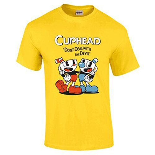 NoveltyBoy Cuphead Don't Deal With Devil T-shirt Round Collar (Medium, Yellow)