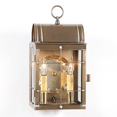 Irvin's Country Tinware Toll House Wall Lantern in Weathered Brass