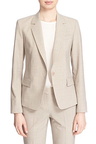 (Theory Women's Gabe N Edition Stretch Wool Blend Blazer Jacket, Khaki Melange, 6)