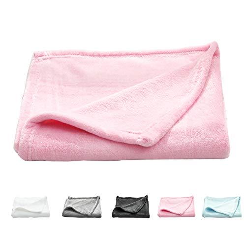 Uozzi Bedding All-Season Pink Flannel Fleece Baby Blanket for Girls & Boys - Ultra Soft Plush Thin Kids Toddler Blanket for Crib, Pram Strollers, Sofa, 100% Microfiber Polyester 30