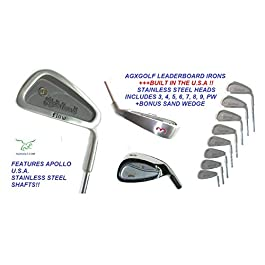 AGXGOLF Men's Leaderboard Wide Sole Stainless Steel Irons Set; 3-PW w/Free Sand Wedge Right Hand: Cadet, Regular or Tall Length Built in The U.S.A