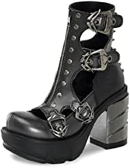 Summitfashions Dark Grey Ankle Boots with Multiple Buckles and Chrome 3.5 Inch Heels