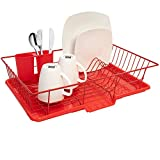 Sweet Home Collection 3 Piece Dish Drainer Rack Set with with Drying Board and Utensil Holder, 12' x 19' x 5', Red