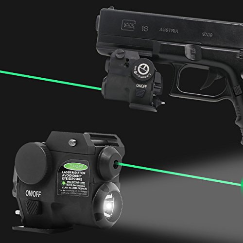 Lasercross Tactical Compact Green Dot Laser Sight,LED Flashlight Combo with 20mm Rail Picatinny On/Off Switch for Air Pistol,Airgun,Modem Semi-Automatic Pistols,Handgun,Shotguns,Rifle etc (2HY01G)