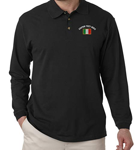 Custom Text Embroidered Italy Unisex Adult Button-End Spread Long Sleeve Cotton Polo Jersey Shirt Golf Shirt - Black, 2X Large