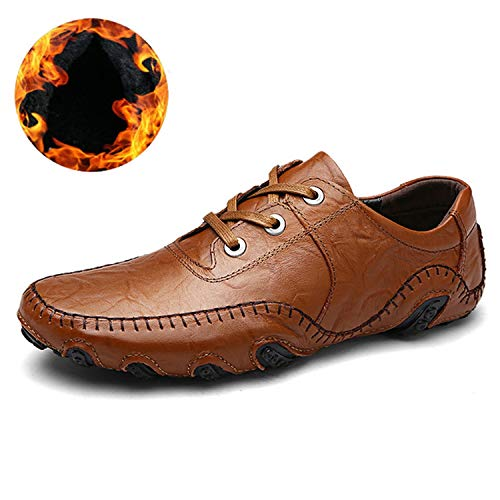(Men's Casual Shoes Lace-Up Male Adult Genuine Leather Autumn Winter Walking Driver Quality Footwear,8890-1M-brown,7.5)