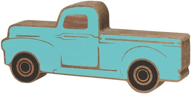Collins Rustic Wooden Pickup Truck Shelf Sitter (Blue, Small)