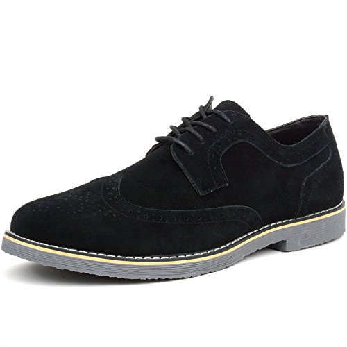 alpine swiss Beau Mens Dress Shoes Genuine Suede Wing Tip Oxfords Black 10 M US - Black Brogue