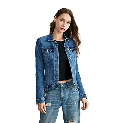 Nicasia Women's Denim Jacket Stretch Long Sleeve Lightweight Classic Trucker Jackets Indigo Jean Coat at Women's Coats Shop