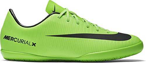 Nike Jr. Mercurial Victory IC Indoor Soccer Shoe (Sz. 3Y) Electric Green, Black (Shoes Nike For Football)