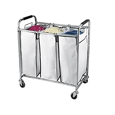 Saganizer laundry hamper with wheels rolling laundry cart Heavy duty Triple Laundry Sorter, Chrome/white laundry organizer