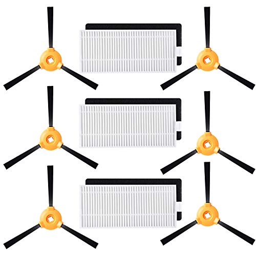 Alonyi Accessories Set for Ecovacs Deebot N79s N79 Robotic Brush Robot Vacuum Filter 3 Piece + Cleaner Side Brushes 6 Piece