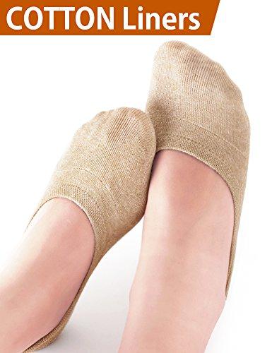 VERO MONTE 4 Pairs Womens No Show Socks Non Slip (Nude, 6-7.5) -Loafer Socks