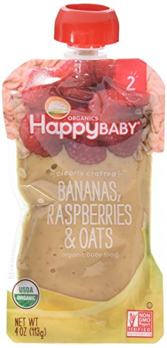 (Happy Baby Organic Clearly Crafted Stage 2 Baby Food Bananas Raspberries & Oats, 4 Ounce Pouch (Pack of 8) Resealable Baby Food Pouches, Fruit & Veggie Puree, Organic Non-GMO Gluten Free Kosher)