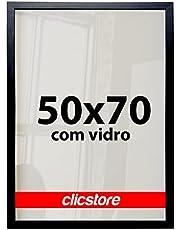 Moldura 50x70Cm Com Vidro e Fundo Quadros Retrato Poster Foto