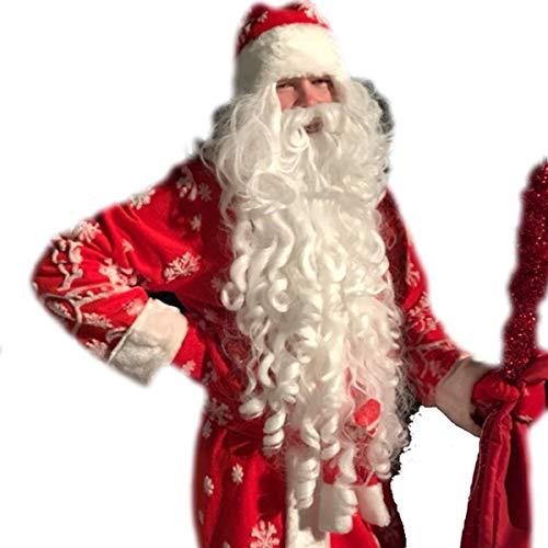 DEYSSNE White Santa Wig And Beard Set Santa Claus Long Wavy Wig High Temperature Fiber Cosplay wig 80CM 32IN -