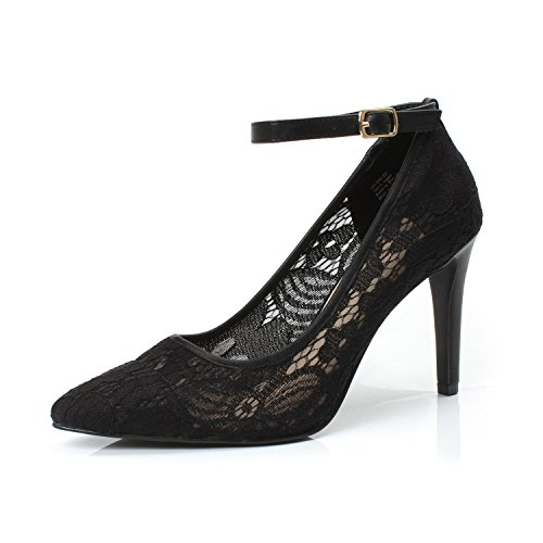 DUNION Women's Bailee Classic Breathable Jacquard Pointed Toe Stiletto Wedding Party Evening High Heel Dress Pump,Bailee Black,11 M ()